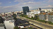 Sofia weather webcam traffic on the boulevard 'Bulgaria', neighborhood 'Monastery Meadows' and Vitosha mountain from the office of the company 'SEOM' video Free-WebCamBG