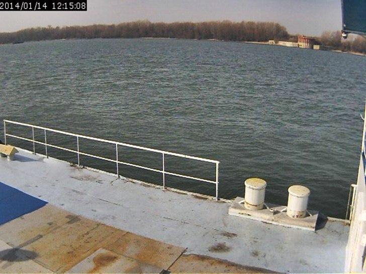 Русе (14.януари.2014 г.) уеб камера времето от понтон 8 и ниво река Дунав пристанище порт кей Free-WebCamBG